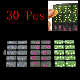 30 Pcs Flower Star Pattern 3D Nail Art Sticker Tip Decal Manicure