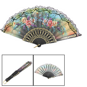 Plastic Ribs Metal Gold Tone Hanging D Ring Folding Hand Fan