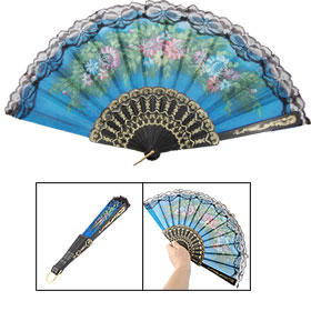 Blue Fabric Sector Colorful Flower Decor Folding Hand Fan