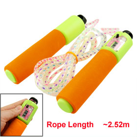 2.52 Meter Orange Green Foam Coated Plastic Handle Counter Jumping Rope