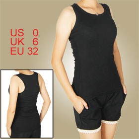Women Black U Neck Elastic Racer Back Sleeveless Tank Top XS