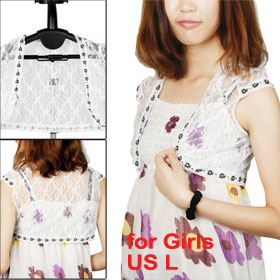 L Cap Sleeves Buttonless Flower Lace Shrug Bolero Black White for Girls