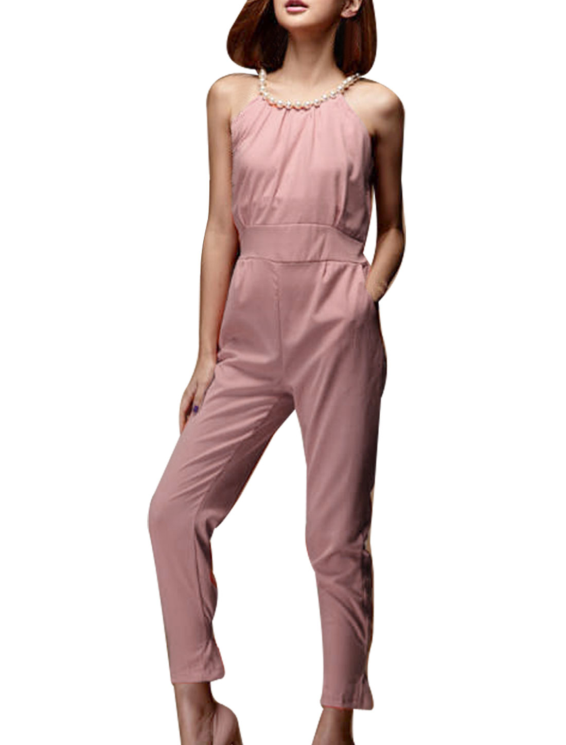 Women Plastic imitation Pearl Scoop Neck Sleeveless Pink Cropped Jumpsuit XS