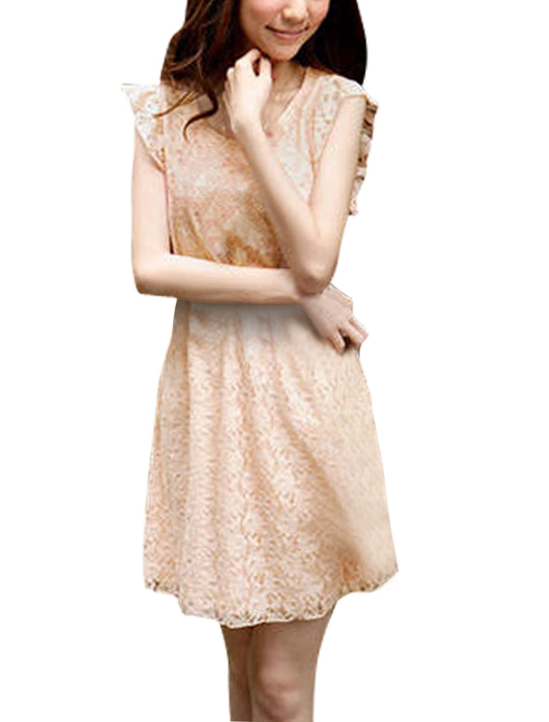 Ladies Scoop Neck Sleeveless Elastic Waist Lace Casual Dress Pale Pink XS