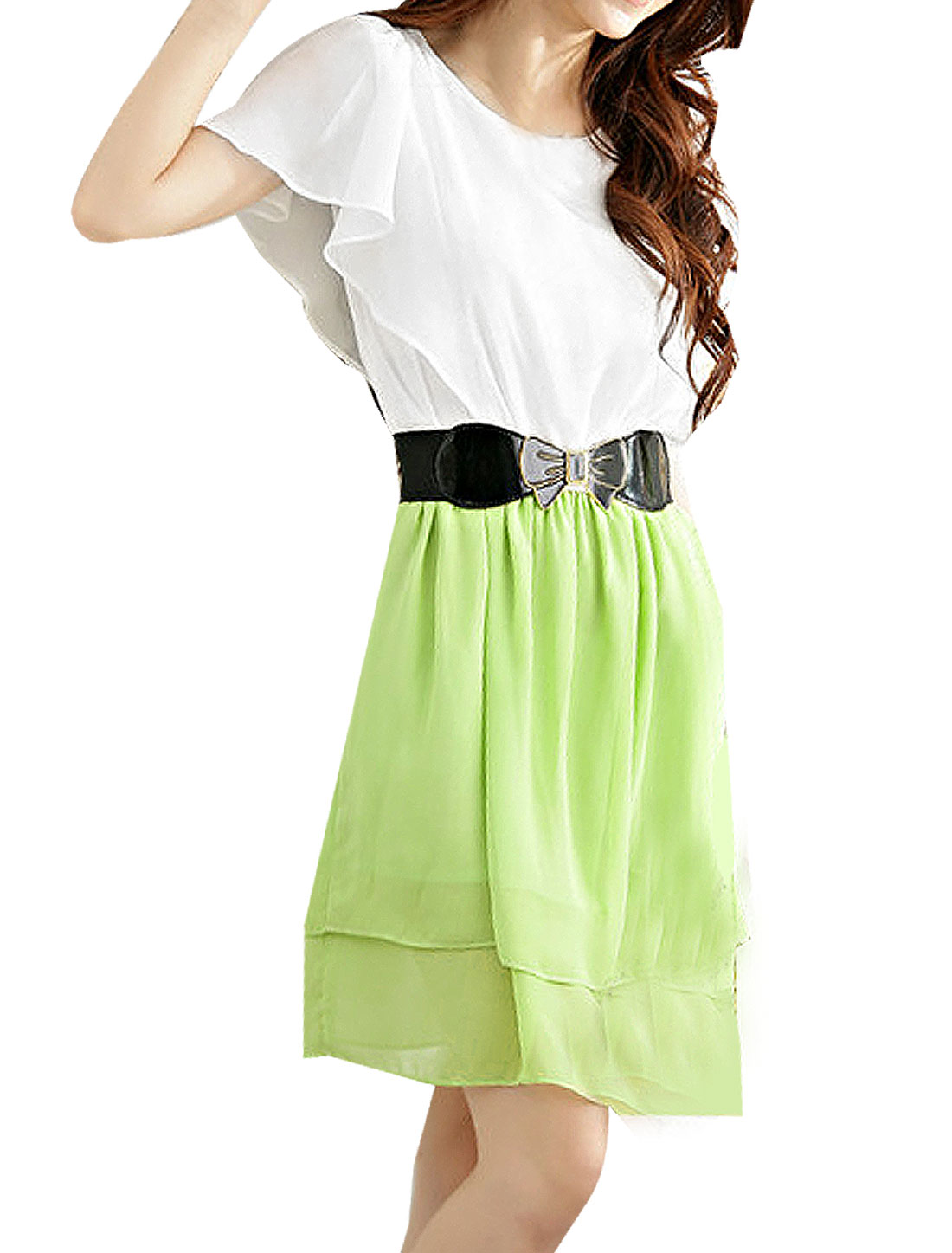 Women Butterfly Sleeves Contrast Color Chiffon Dress w Belt Light Green XS