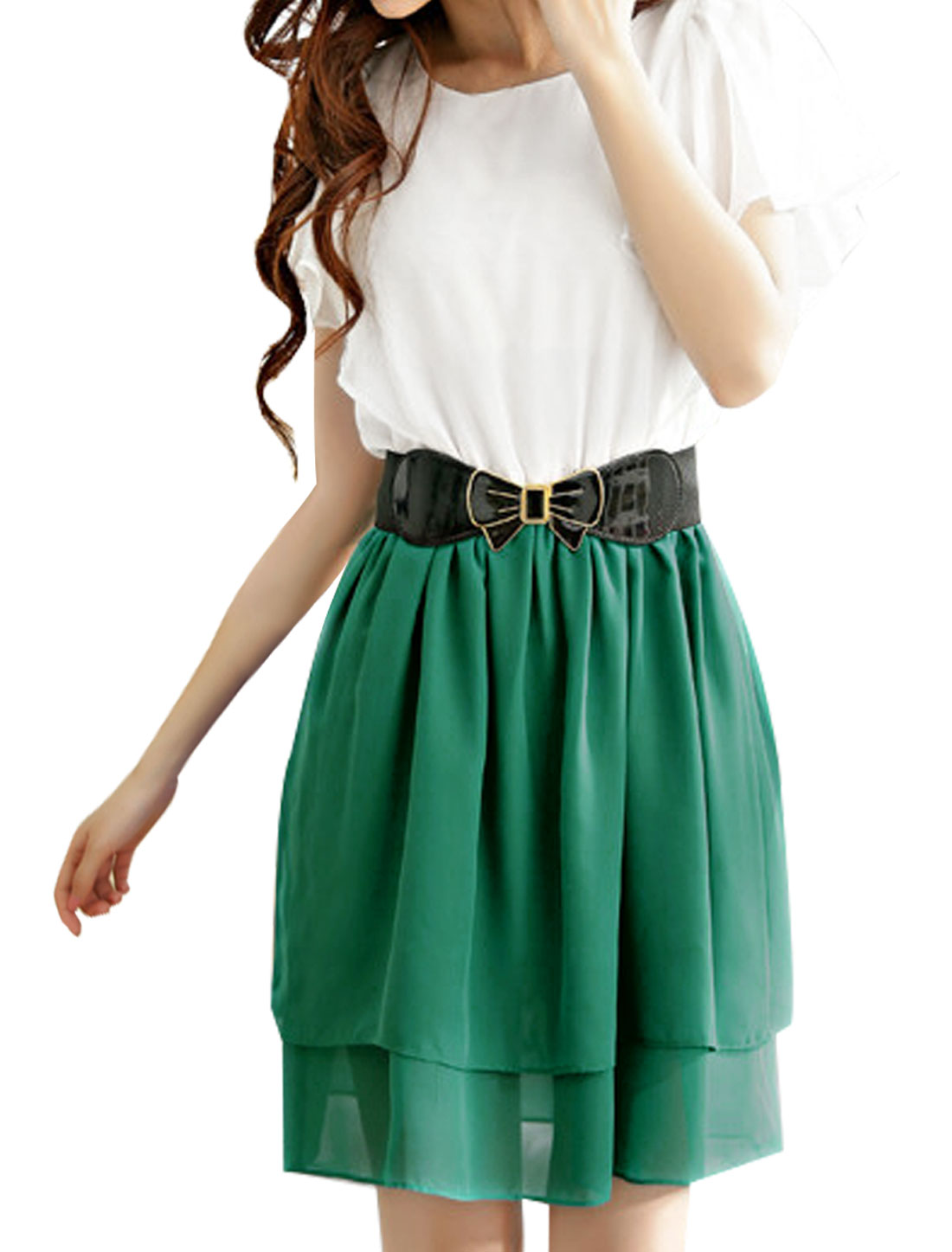 Women Butterfly Sleeves Contrast Color Chiffon Dress w Belt Dusty Green XS
