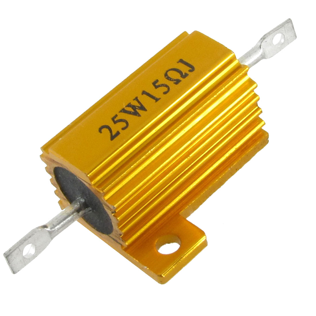 Chassis Mount Wirewound Aluminium Housed Power Resistor 5% 25W 15 Ohm Gold Tone