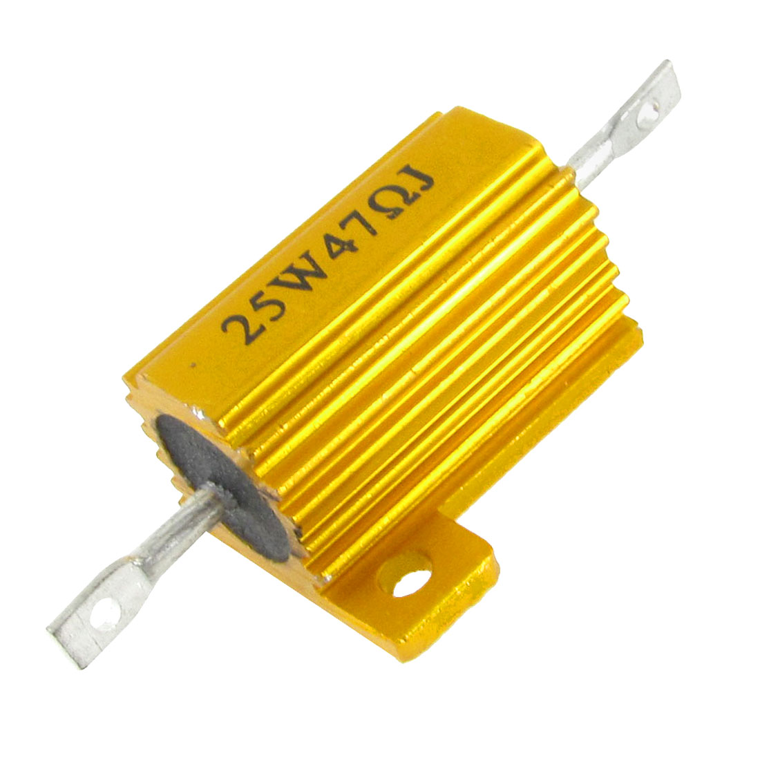 Chasis Mounted 25W 47 Ohm 5% Aluminum Housed Wirewound Resistor Gold Tone