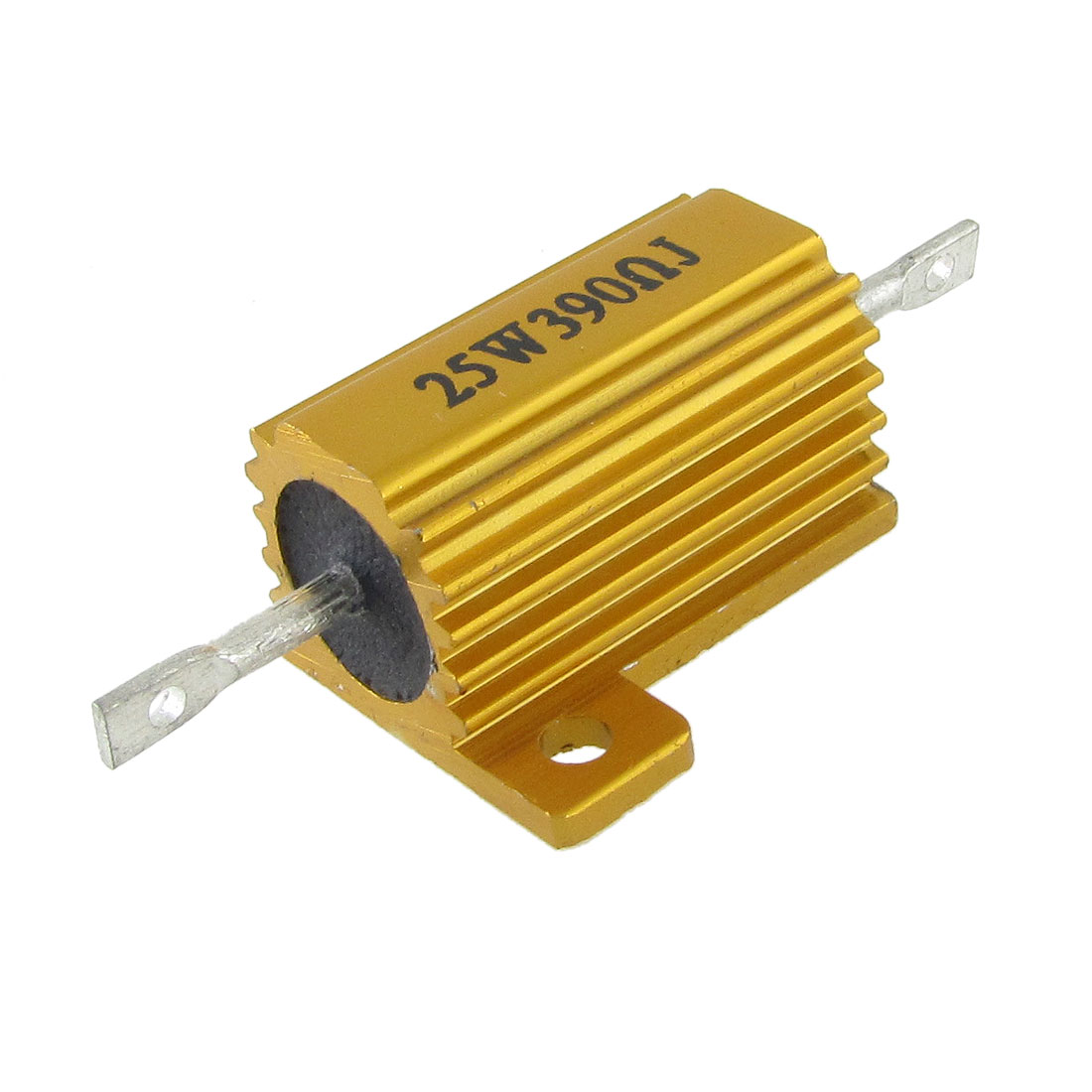 25W 390 Ohm Aluminum Housed Wirewound Power Resistor Gold Tone