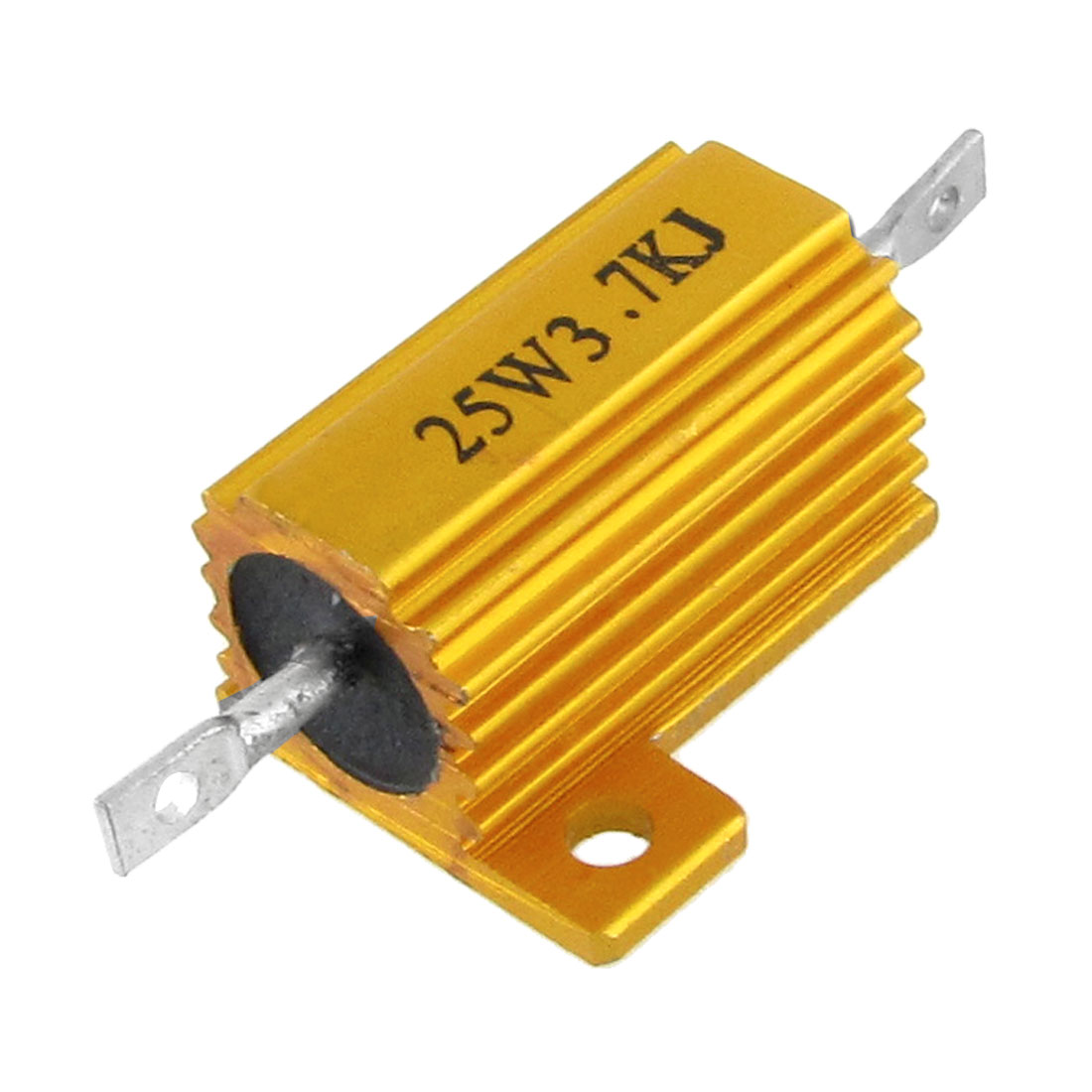 25W 3.7K Ohm Aluminum Housed Wirewound Power Resistor Gold Tone