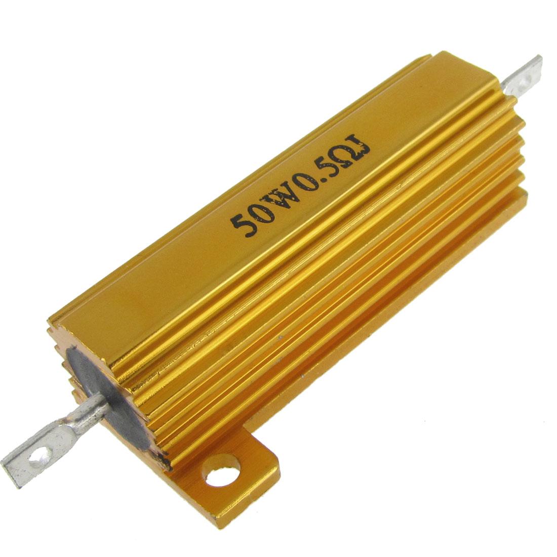 50W Watt 0.5 Ohm 5% Aluminum Case Wirewound Resistor Gold Tone