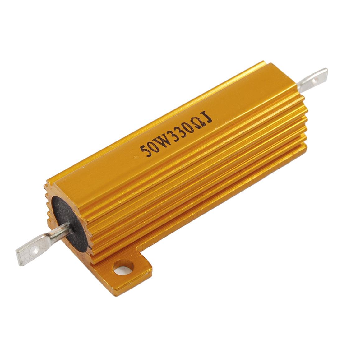 Gold Tone 330 Ohm 5% 50 Watt Aluminum Shell Wire Wound Resistor