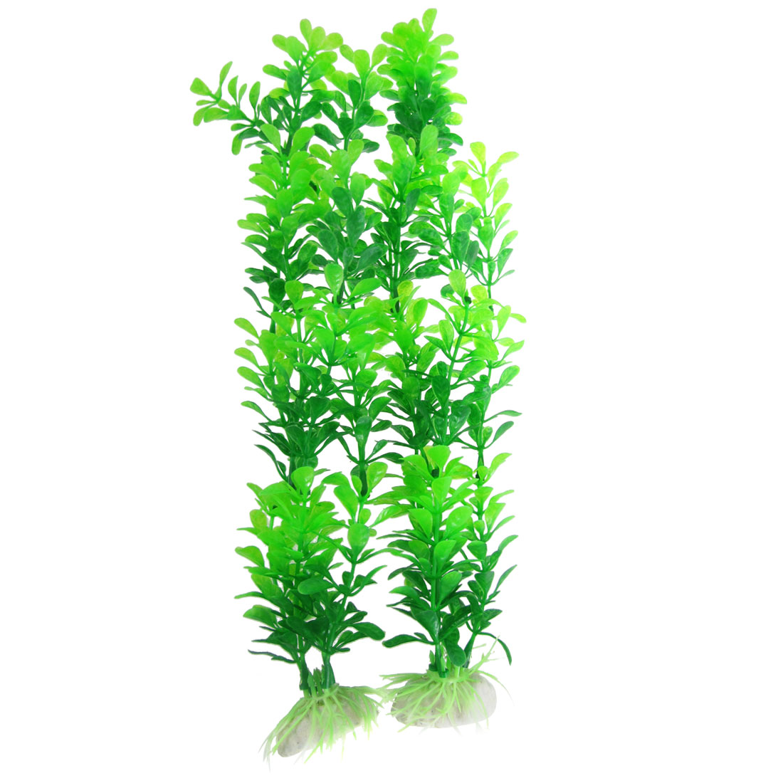 "2 Pcs Fish Tank Aquarium Ornament Green Plastic Plant 13"" Height"