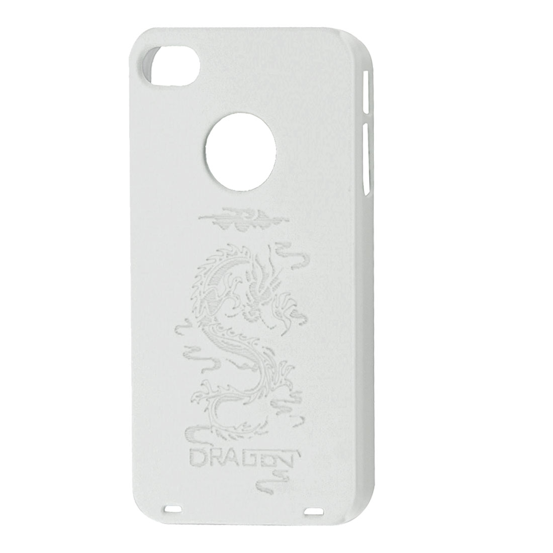 Gray Dragon Pattern White Rubberized Hard Back Case for iPhone 4 4G