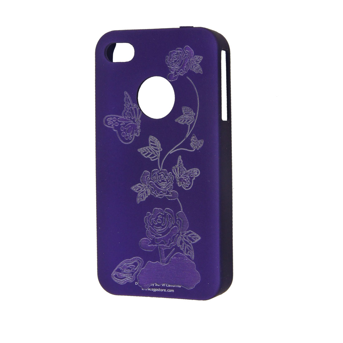 Purple Hard Plastic Carved Butterfly Back Case for iPhone 4 4G 4GS