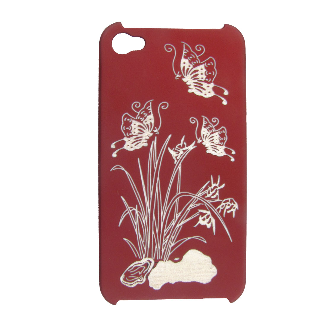 Burgundy Rubberized Plastic Laser-cut Floral Butterfly Back Cover for iPhone 4 4G 4GS