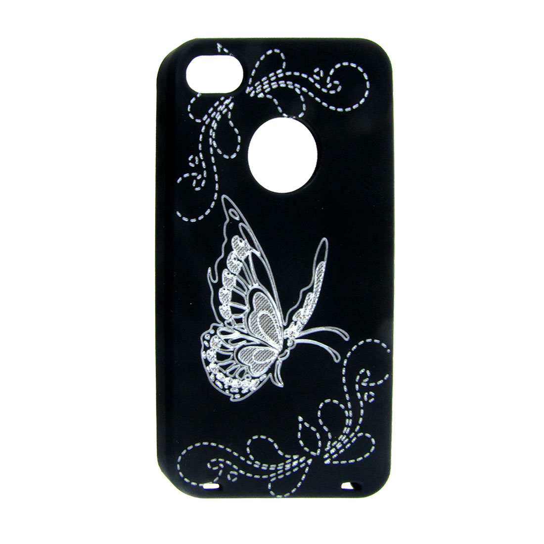 Black Rubberized Plastic Laser-cut Butterfly Back Cover for iPhone 4 4G 4S