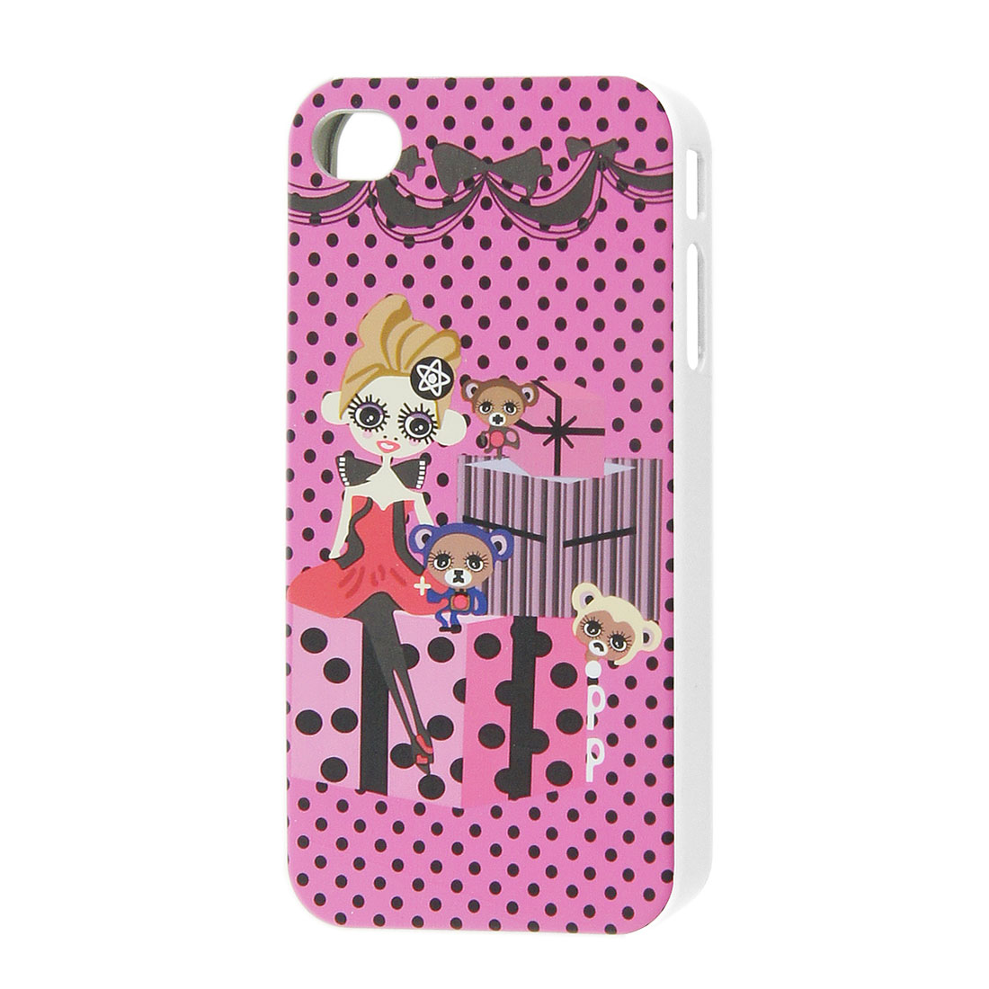 Pink Hard Plastic Dots Girl Printed Shell Case for iPhone 4 4S