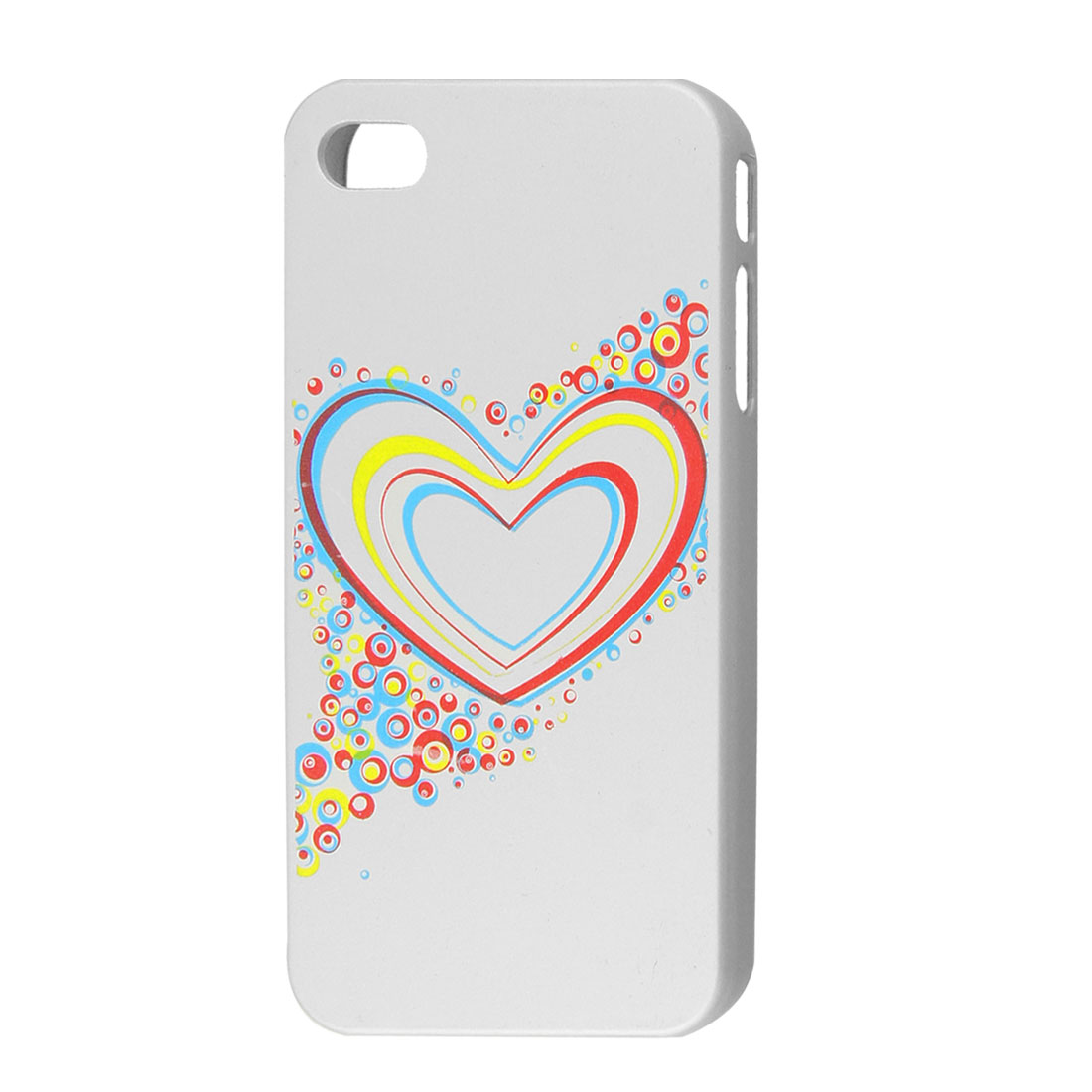 Colorful Heart Pattern Silver Tone Hard Plastic Back Case for iPhone 4 4G 4GS
