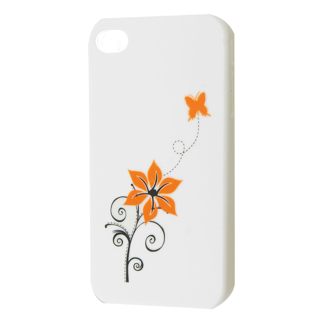 White Hard Plastic Flower Print Back Case for iPhone 4 4G 4GS