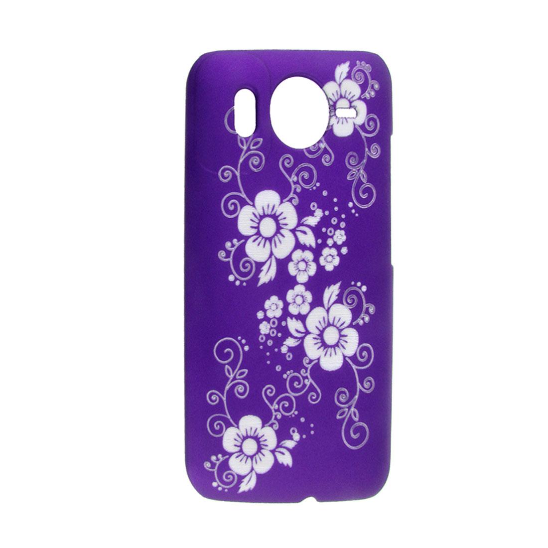 Purple Rubberized Plastic Laser-cut Five Petal Floral Back Cover Case for HTC Desire HD