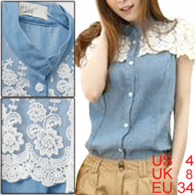 Women Button up Stand Collar White Lace Cap Sleeve Blue Shirt S