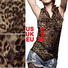 Lady Beige Black Stand Collar Single Breasted Leopard Prints Shirt S