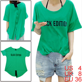 Ladies Green Scoop Neck Short Sleeve Letters Front Irregular Hem Tunic Shirt S