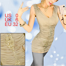 Women Deep V Neck Sequins Bead Chain Decor Beige Stretchy Tank Shirt XS