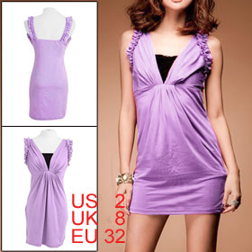 Woman Sleeveless Deep V Neck Lace Patchwork High Waist Purple Mini Dress XS