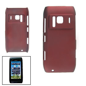 Rubberized Wine Red Plastic Back Cover for Nokia N8