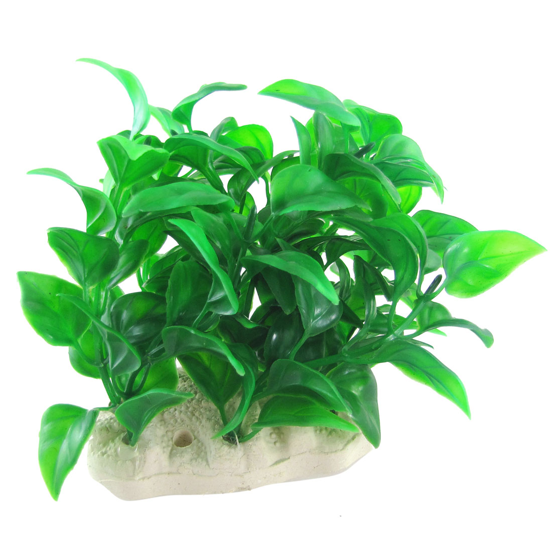 "Ceramic Base Green Leaves Plastic Plants 3.9"" for Fish Tank"