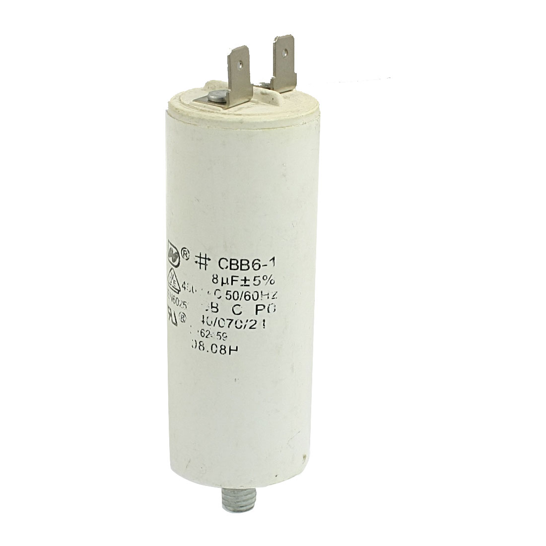 CBB6-1 8uF 450V Non Polar Polypropylene Film Screw Type Round Motor Run Capacitor