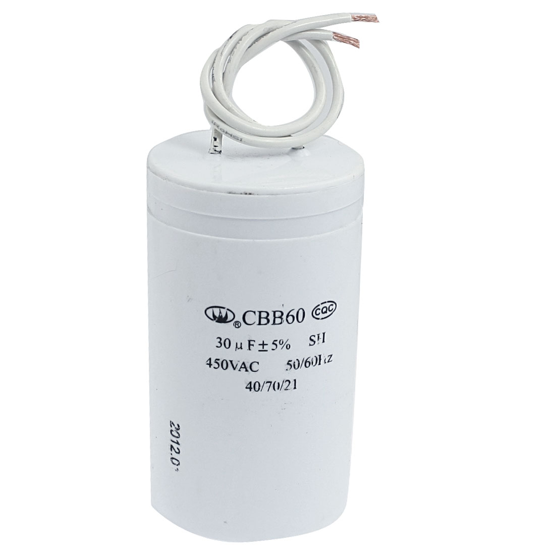 CBB60 30uF AC 450V Motor Running Wired Polypropylene Film Capacitor