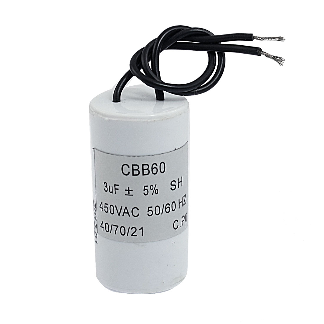 CBB60 SH Polypropylene Film Motor Capacitor 3uF 450VAC w 2 Lead Wire White
