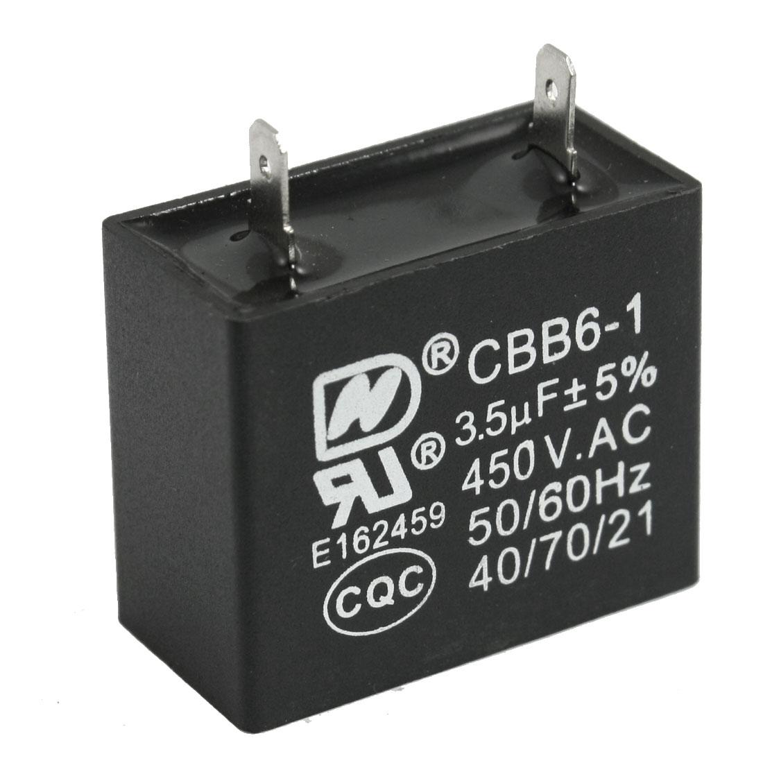 CBB6-1 3.5uF 450V AC 2 Soldering Terminals Motor Running Capacitor