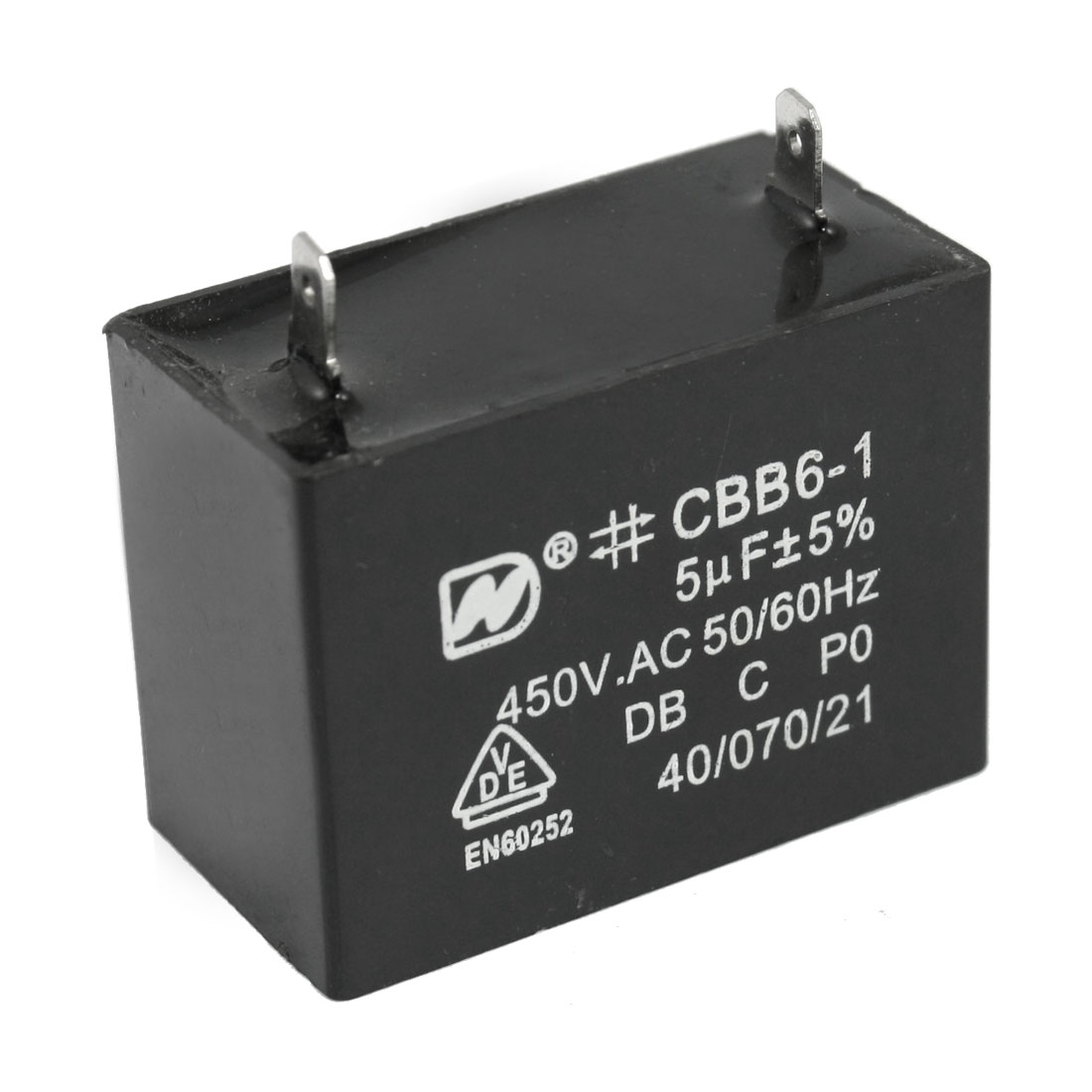 CBB6-1 5uF 5% 450V AC Air Conditioner Fan Motor Running Capacitor Black