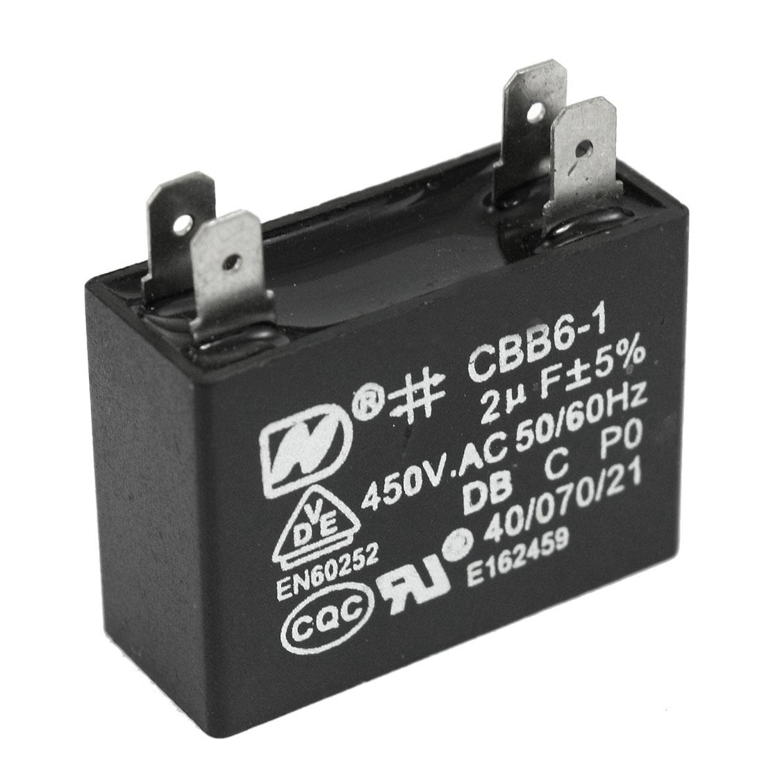 Ceiling Fan 2uF CBB6-1 450VAC Polypropylene Film Motor Capacitor