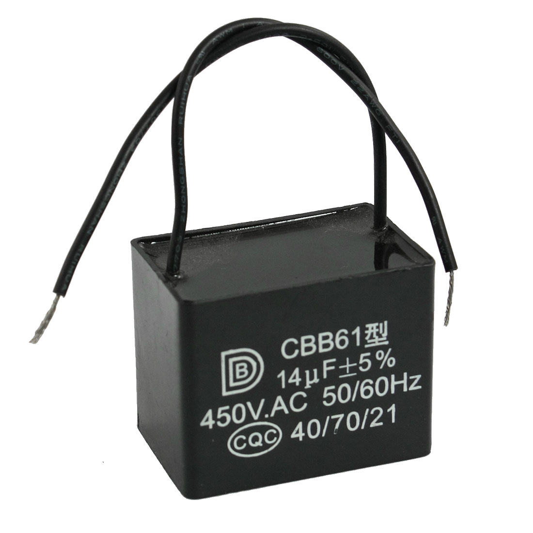 14uf 450VAC 50/60Hz 2 Wire Motor Run Fan Capacitor CBB61 Black
