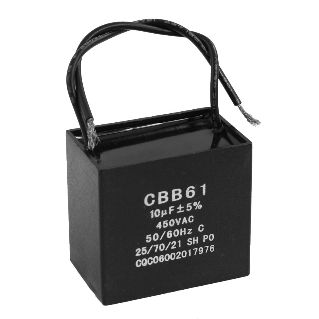 CBB61 SH 450V 10uF Polypropylene Film Motor Run Capacitor Black