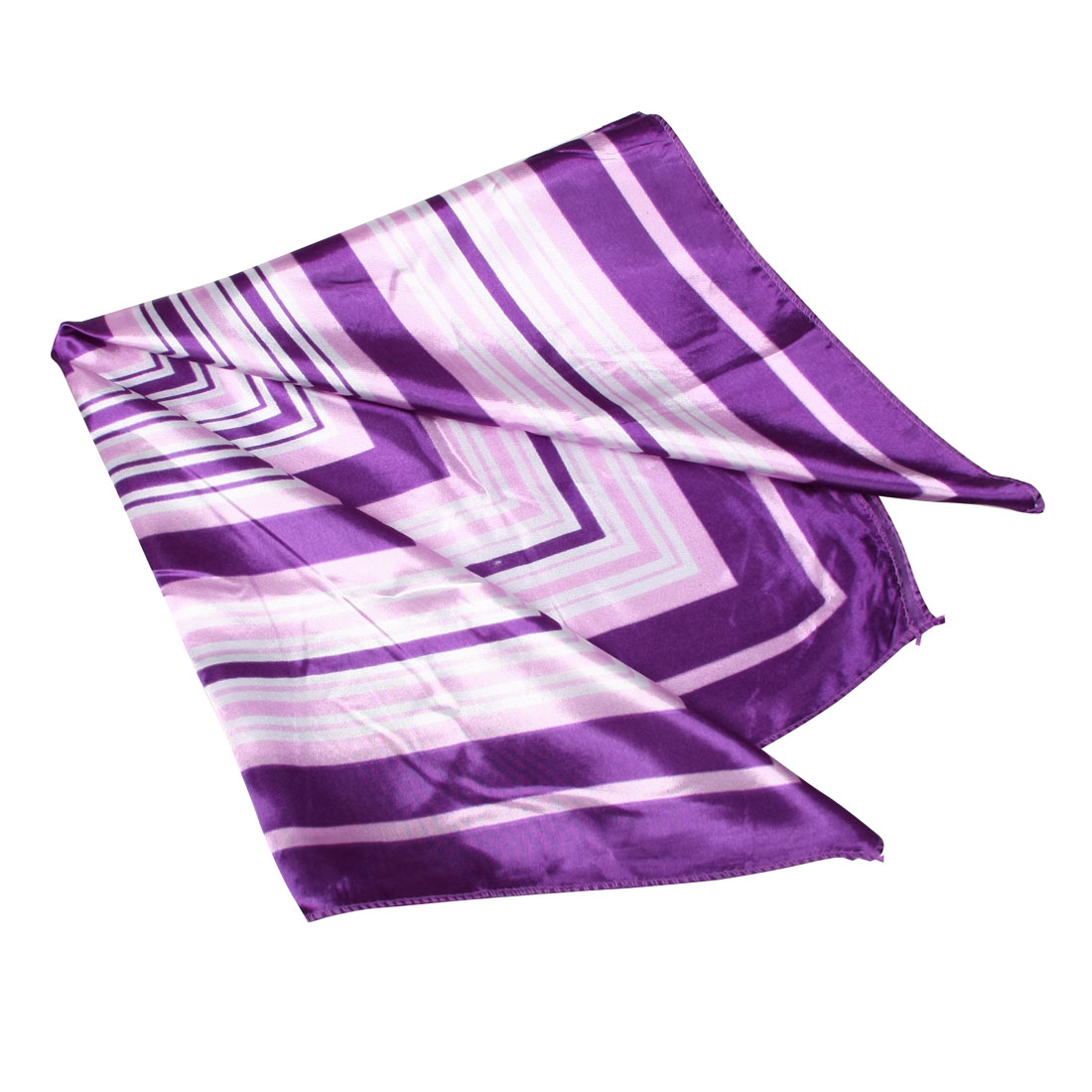 Women Purple White Square Striped Neck Scarf Shawl