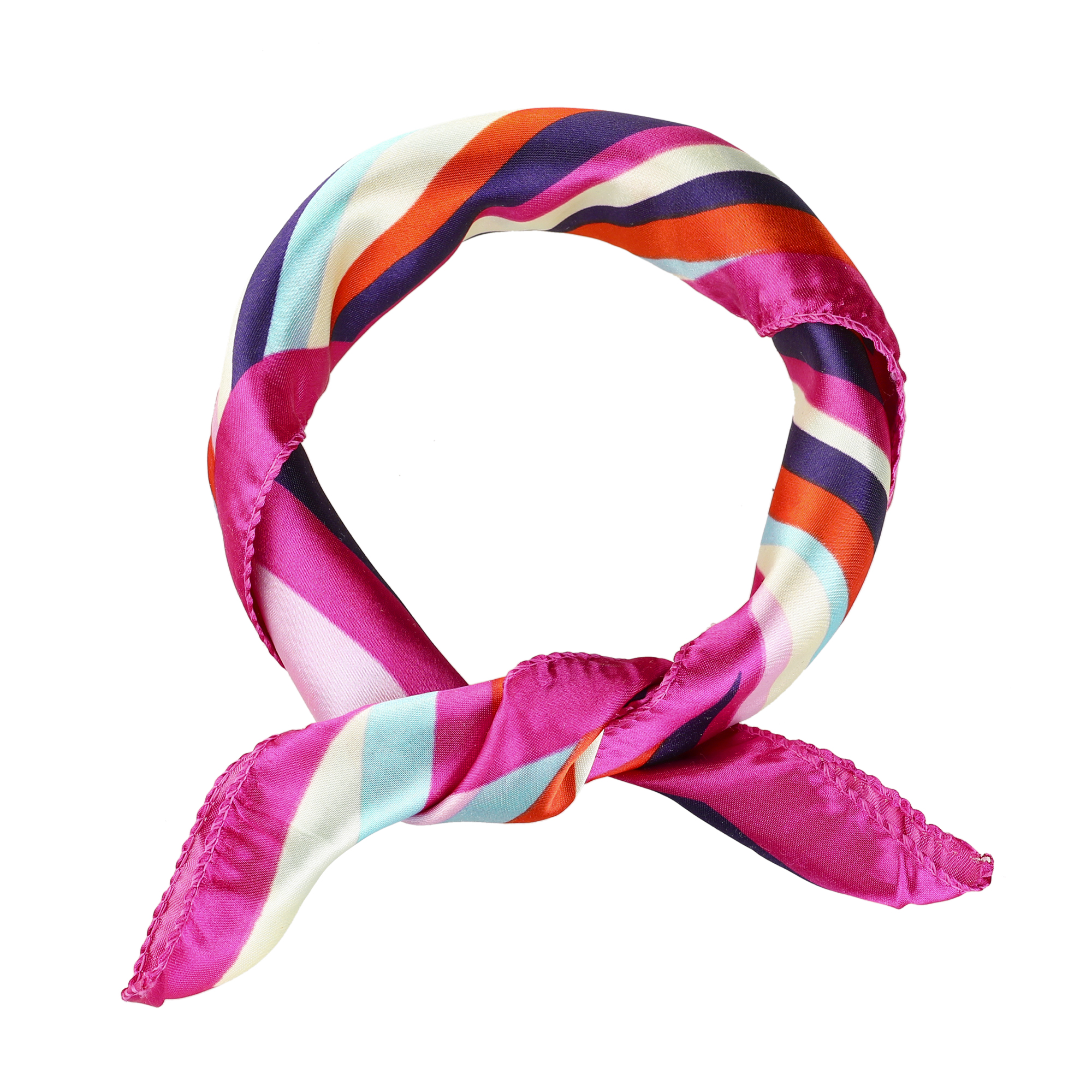 Colorful Striped Polyester Neck Scarf Kerchief for Women