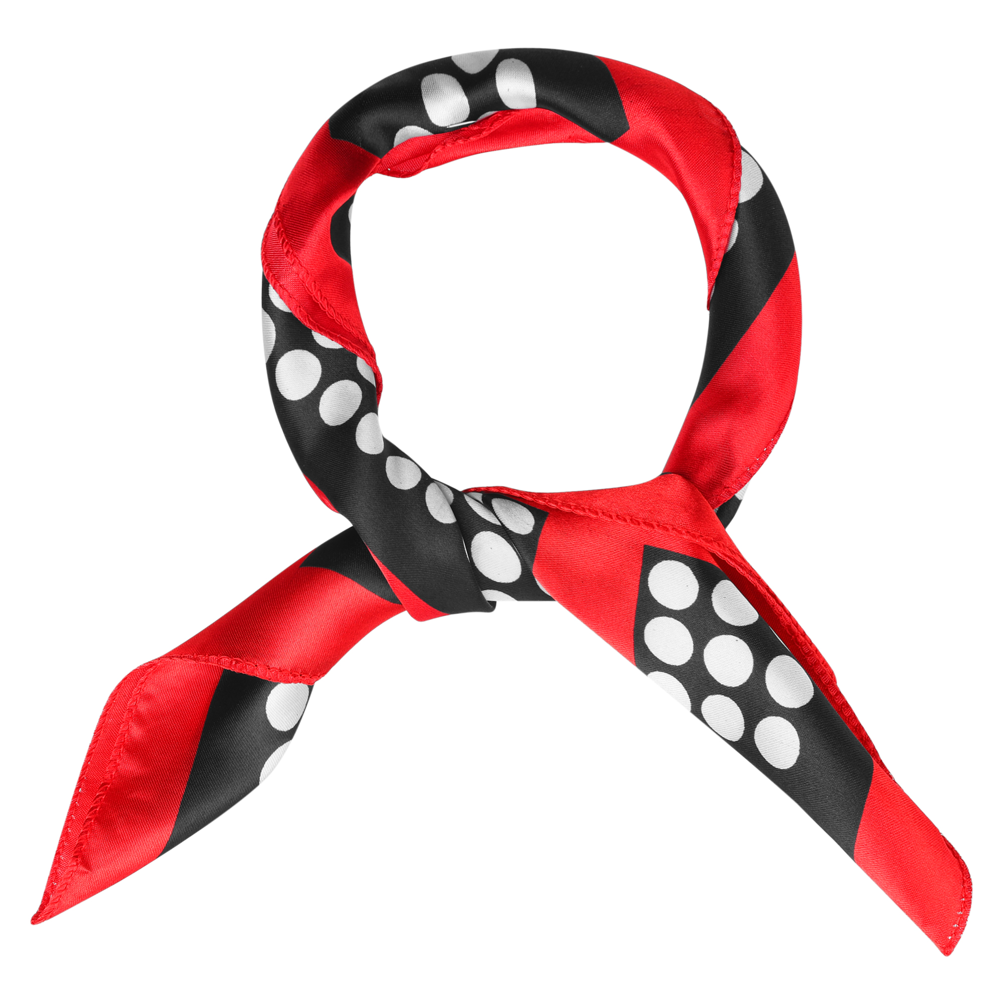 Red Stitched Brim Dot Prints Square Neckerchief for Women