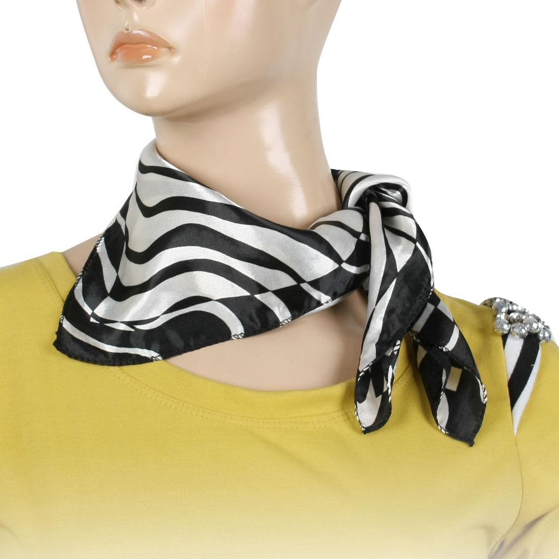 Black White Zebra Pattern Square Neck Scarf Wrap Neckerchief for Women