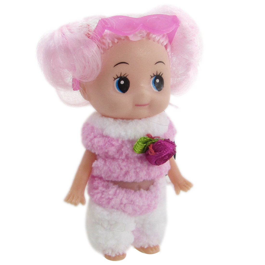 Light Pink White Plush Clothes Designed Doll Pendant for Handbag