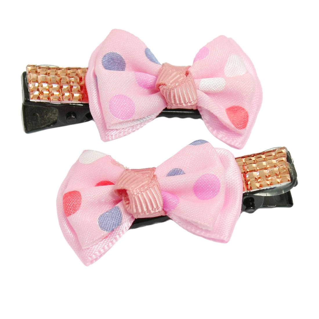 2 Pcs Light Pink Two Layer Bowknot Design Alligator Hair Clips for Girls