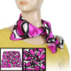 Women Dark Pink Black Polyester Neck Scarf Neckerchief