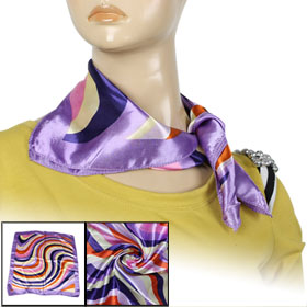 Colorful Stripe Print Polyester Neckercheif Kerchief for Ladies