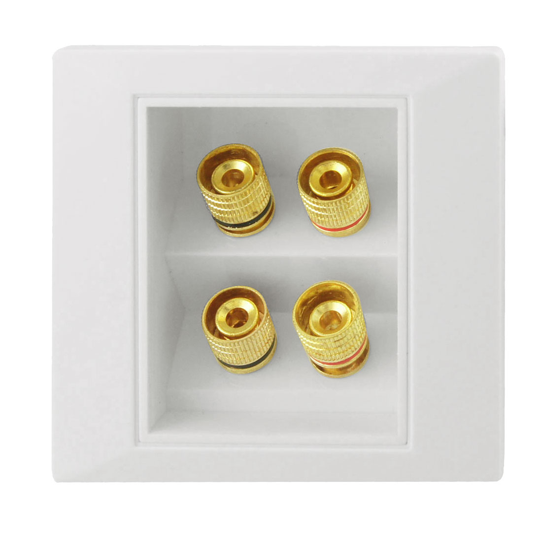 White Gold Tone 4 Binding Post Wall Plate Panel Audio Connector