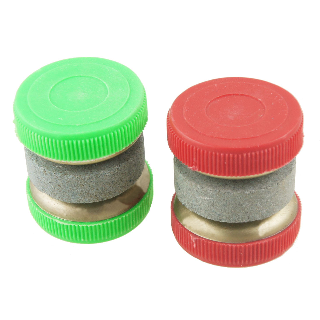 2 Pcs Red Green Grit Lapped Round Edge Milling Whetstone Abrader Sharpener